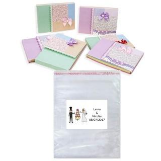 Lote libreta con bolsa y tarjeta o pegatina