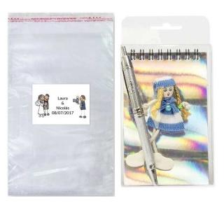 Pack libreta con boli en bolsa y tarjeta o pegatina