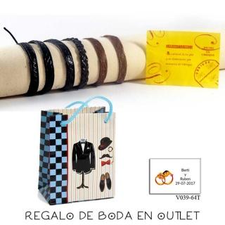 Pack de pulseras artesanas de piel de Ubrique, con bolsa y tarjeta
