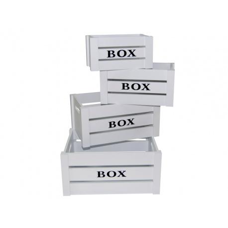Juego de 4 cajas de madera blancas