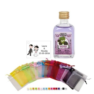 Pack licor en bolsa con tarjeta personalizada