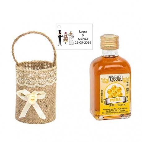 Regalo boda ron miel decorado