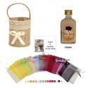 Licor Crema en cesta bolsa organza y tarjeta