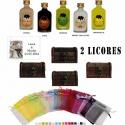 Pack boda 2 licores con baúl bolsa de organza y tarjeta