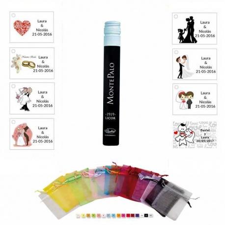 Licor Montepalo 100ML en organza y tarjeta para regalo