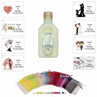 Licor de arroz con leche 50ml con bolsa de organza y tarjeta