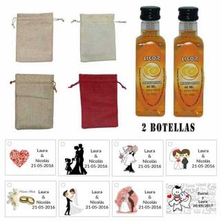 Licor Mandarina en una bolsa de saco y tarjeta