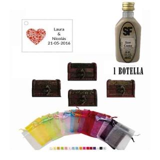 Licor Crema en baúl de madera, bolsa de organza y tarjeta