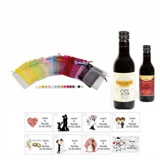 Tinto boda personalizado con tarjeta y bolsa organza