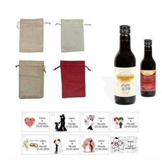 Tinto boda personalizado con tarjeta y bolsa saco
