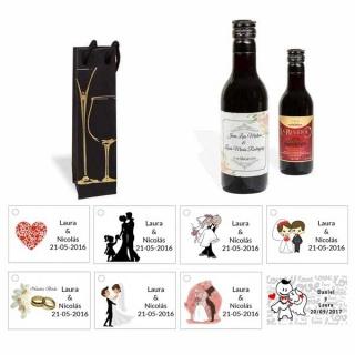 Tinto regalos boda personalizado con caja elegante y tarjeta