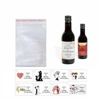 Tinto regalos boda personalizado con tarjeta y bolsa celofán