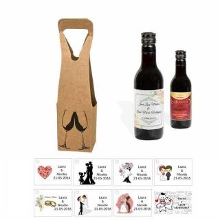 Tinto regalos boda personalizado con tarjeta y caja
