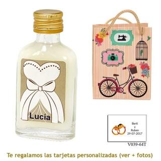 Licor de crema 20 ml con etiqueta de novia y bolsa vintage con bicicleta