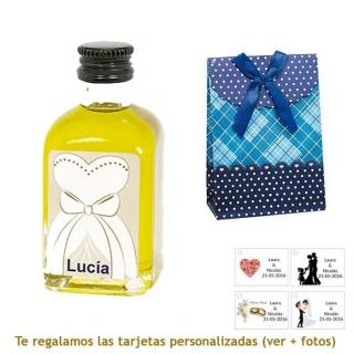 Botellita de Aceite de Oliva con etiqueta de novia y bolsa surtida de lunares y cuadros
