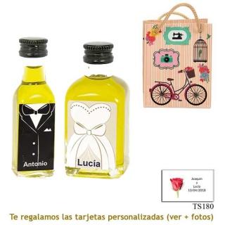Botellitas de Aceite de Oliva para regalar en boda, con cajas de novio y novia a juego