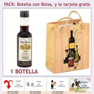 """Botellita de Vino Dulce """"Pedro Ximénez"""" con bolsa y tarjeta"""