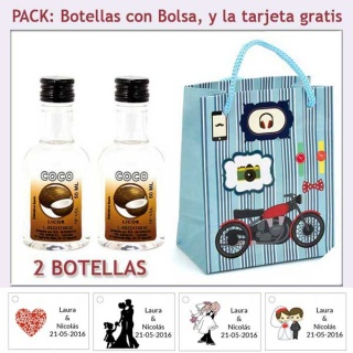 2 Botellitas de Licor de Coco con bolsa y tarjeta