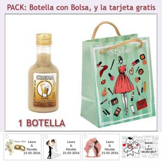 Botellita de Licor de Crema con bolsa y tarjeta