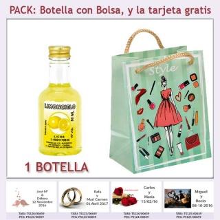 Botellita de Licor Limoncielo con bolsa y tarjeta