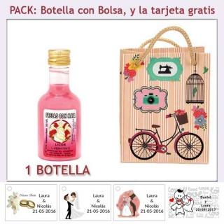 Botellita de Licor de Fresas con Nata con bolsa y tarjeta