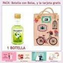Botellita de Licor de Finas Hierbas con bolsa y tarjeta