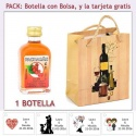 """Botellita de Pacharán con bolsa """"bodegón"""" y tarjeta"""