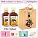 """2 Botellitas de Licor de Café con bolsa """"bodegón"""" y tarjeta"""