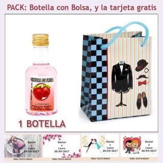 "Botellita de Ginebra de Fresa con bolsa ""charlestón"" y tarjeta"