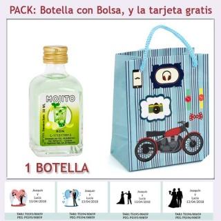 Botellita de Ron Mojito con bolsa con moto roja y tarjeta