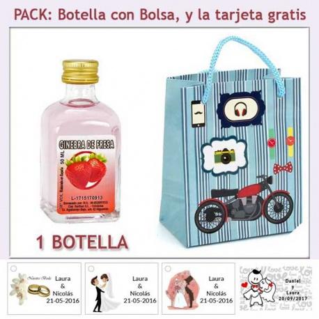Botellita de Ginebra de Fresa con bolsa con moto roja y tarjeta