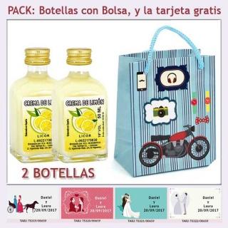 2 Botellitas de Crema de Limón con bolsa con moto roja y tarjeta