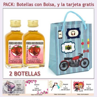 2 Botellitas de Licor Fresas con Chocolate con bolsa con moto roja y tarjeta