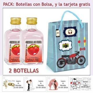 2 Botellitas de Ginebra de Fresa con bolsa con moto roja y tarjeta