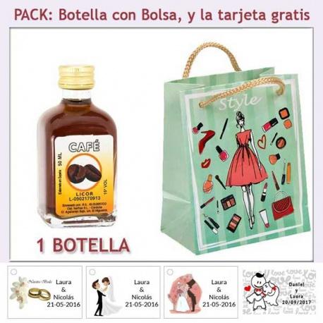 Botellita de Licor de Café con bolsa fashion con mujer y tarjeta