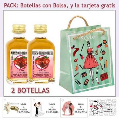 2 Botellitas de Licor Fresas con Chocolate con bolsa fashion con mujer y tarjeta
