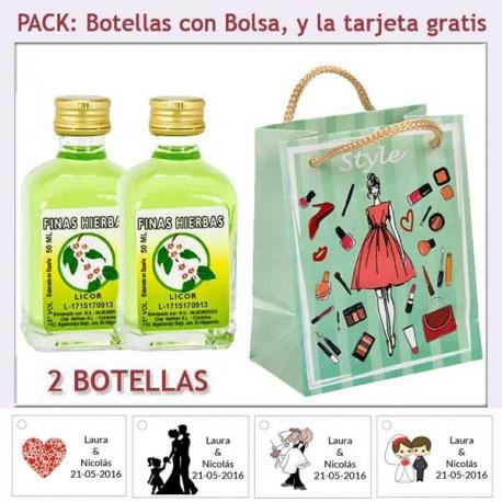 2 Botellitas de Licor de Finas Hierbas con bolsa fashion con mujer y tarjeta