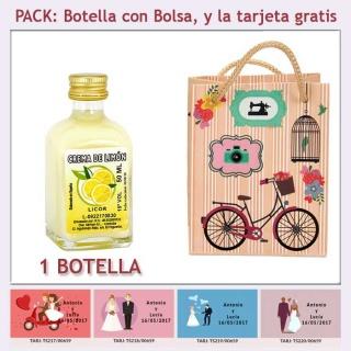 Botellita de Crema de Limón con bolsa vintage con bicicleta y tarjeta