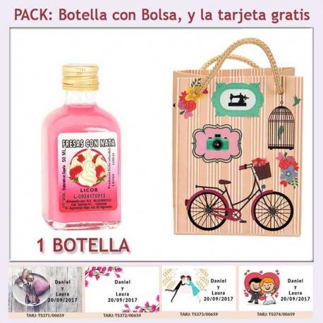 Botellita de Licor de Fresas con Nata con bolsa vintage con bicicleta y tarjeta