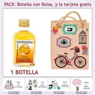 Botellita de Licor de Mandarina con bolsa vintage con bicicleta y tarjeta