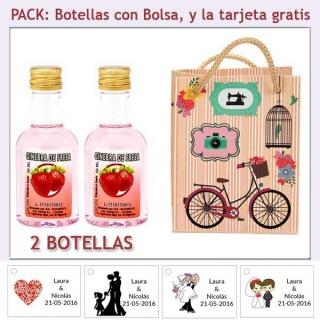 2 Botellitas de Ginebra de Fresa con bolsa vintage con bicicleta y tarjeta