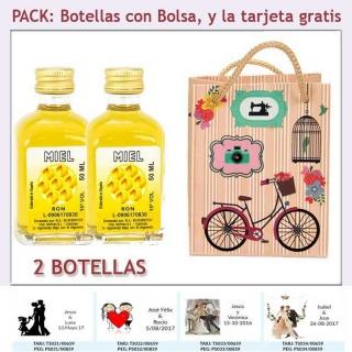 2 Botellitas de Ron Miel con bolsa vintage con bicicleta y tarjeta
