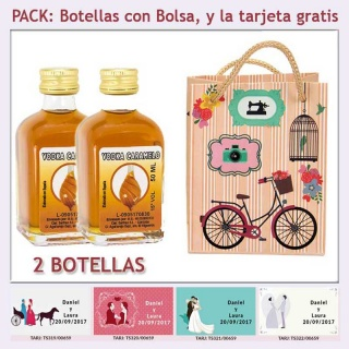 2 Botellitas de Vodka Caramelo con bolsa vintage con bicicleta y tarjeta