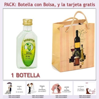 """Botellita de Ron Mojito con bolsa """"bodegón"""" y tarjeta"""