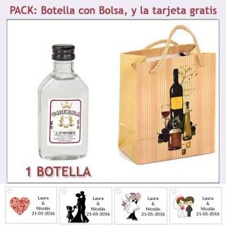 "Botellita de Ginebra Blanca con bolsa ""bodegón"" y tarjeta"