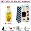 "Botellita de Licor de Crema de Plátano con bolsa ""charlestón"" y tarjeta"