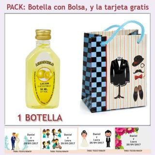 """Botellita de Limoncielo con bolsa """"charlestón"""" y tarjeta"""