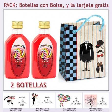 """2 Botellitas de Licor de Piruleta con bolsa """"charlestón"""" y tarjeta"""