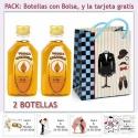 "2 Botellitas de Vodka Caramelo con bolsa ""charlestón"" y tarjeta"