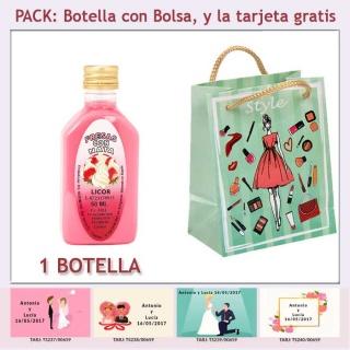 "Botellita de Licor de Fresas con Nata con bolsa ""fashion con mujer"" y tarjeta"
